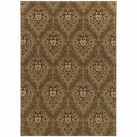 Knightsbridge Green Brown Floral  Transitional Rug