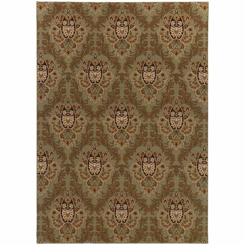 Oriental Weavers Knightsbridge Green Brown Floral  Transitional Rug