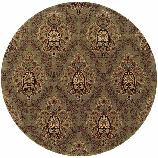Woven - Knightsbridge Green Brown Floral  Transitional Rug
