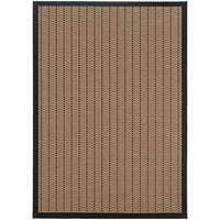 Lanai Beige Black Basket Weave  Outdoor Rug