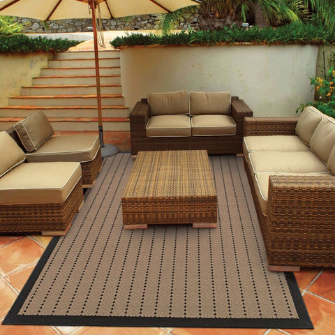 Oriental Weavers Lanai Beige Black Basket Weave  Outdoor Rug