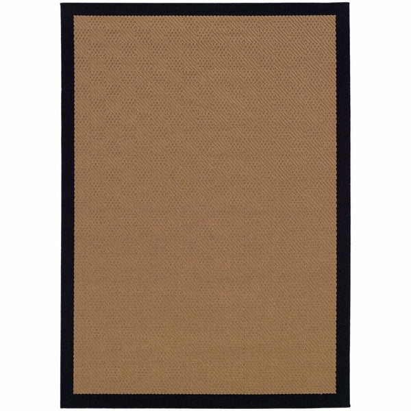 Lanai Beige Black Border  Outdoor Rug