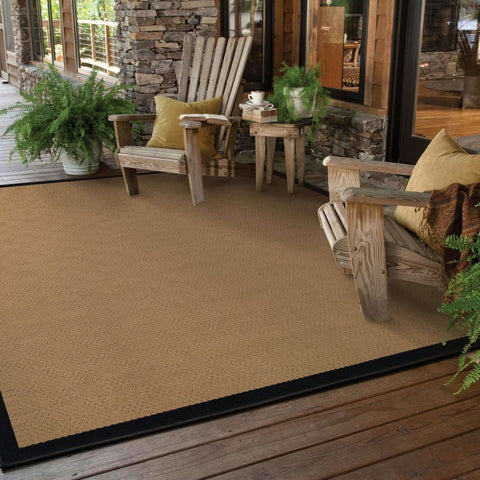Oriental Weavers Lanai Beige Black Border  Outdoor Rug