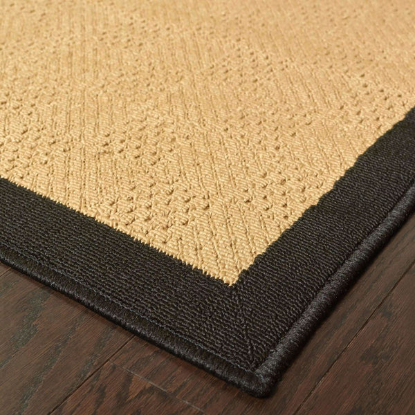 Woven - Lanai Beige Black Border  Outdoor Rug