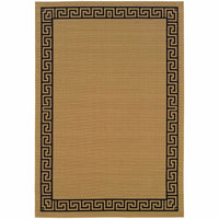 Lanai Beige Black Greek Key Border  Outdoor Rug - Free Shipping