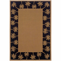 Lanai Beige Black Palm Border  Outdoor Rug - Free Shipping