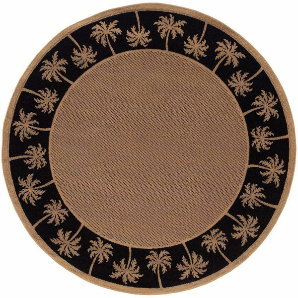 Woven - Lanai Beige Black Palm Border  Outdoor Rug