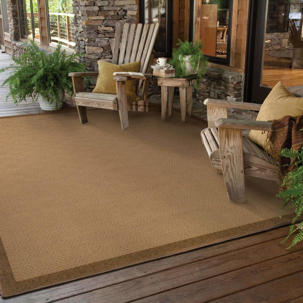 Woven - Lanai Beige Brown Border  Outdoor Rug
