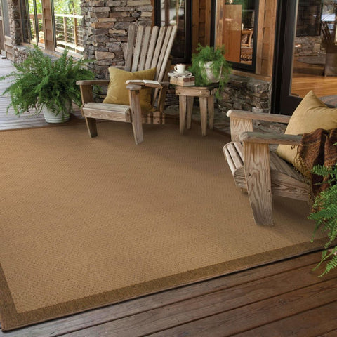 Oriental Weavers Lanai Beige Brown Border  Outdoor Rug