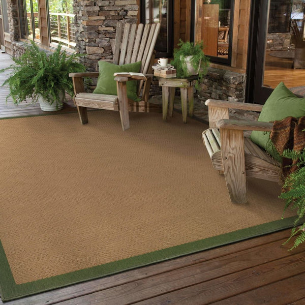 Woven - Lanai Beige Green Border  Outdoor Rug