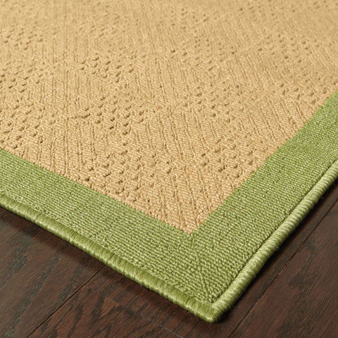 Oriental Weavers Lanai Beige Green Border  Outdoor Rug