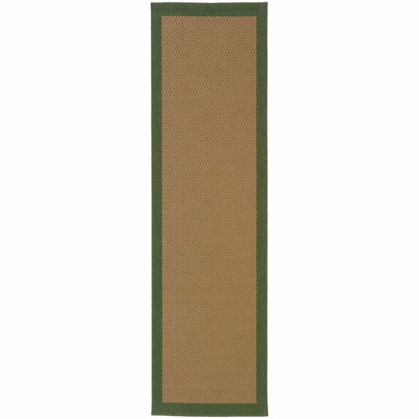 Lanai Beige Green Border  Outdoor Rug - Free Shipping
