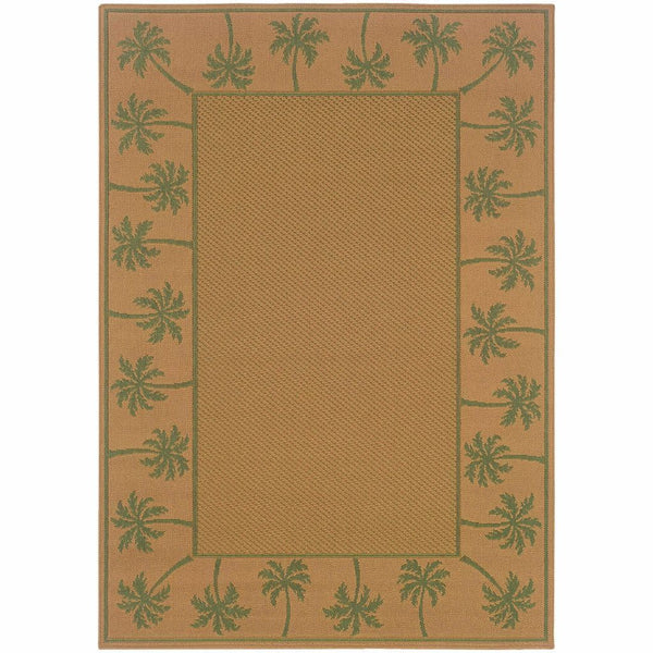 Lanai Beige Green Palm Border  Outdoor Rug - Free Shipping