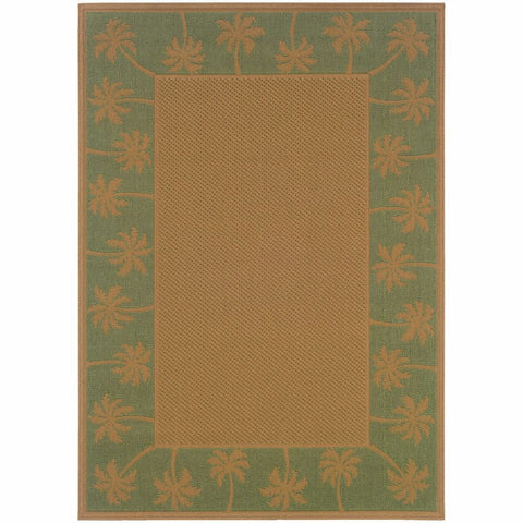 Oriental Weavers Lanai Beige Green Palm Border  Outdoor Rug