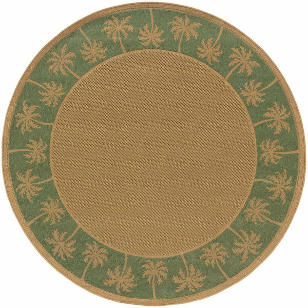 Woven - Lanai Beige Green Palm Border  Outdoor Rug