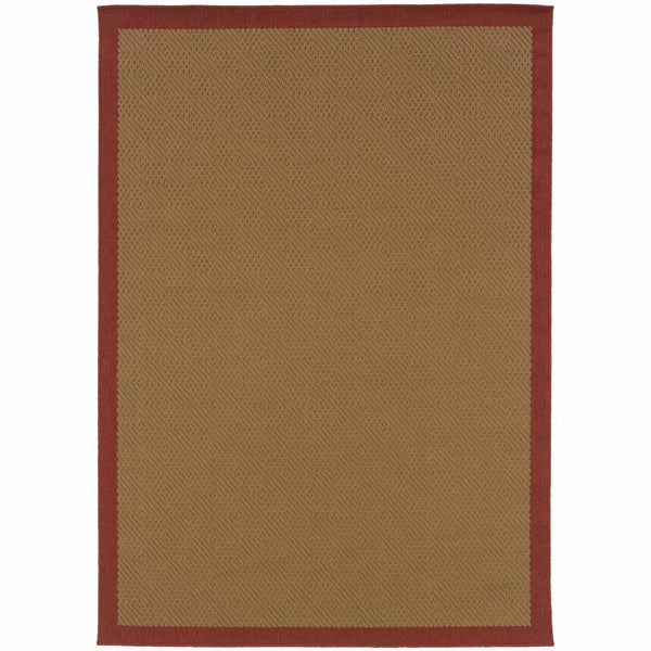 Lanai Beige Red Border  Outdoor Rug - Free Shipping