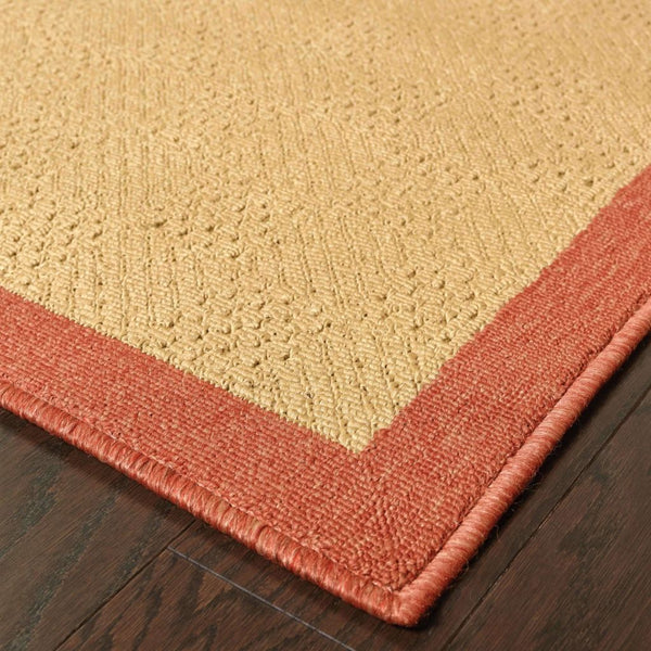 Woven - Lanai Beige Red Border  Outdoor Rug