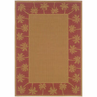 Lanai Beige Red Palm Border  Outdoor Rug - Free Shipping