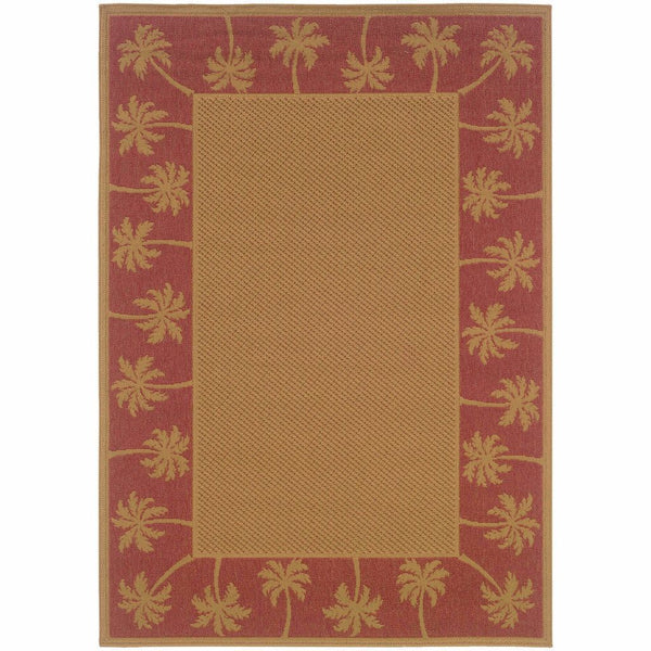 Lanai Beige Red Palm Border  Outdoor Rug