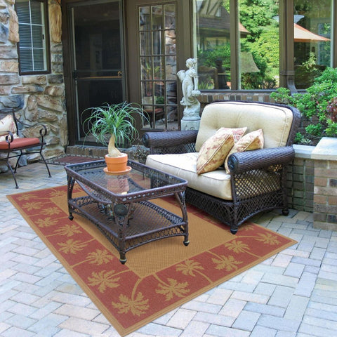 Oriental Weavers Lanai Beige Red Palm Border  Outdoor Rug