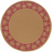 Woven - Lanai Beige Red Palm Border  Outdoor Rug