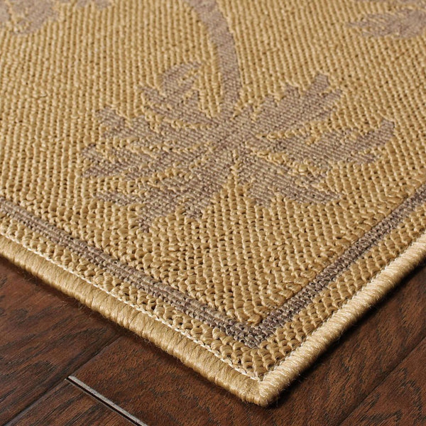 Woven - Lanai Beige Tan Palm Border  Outdoor Rug