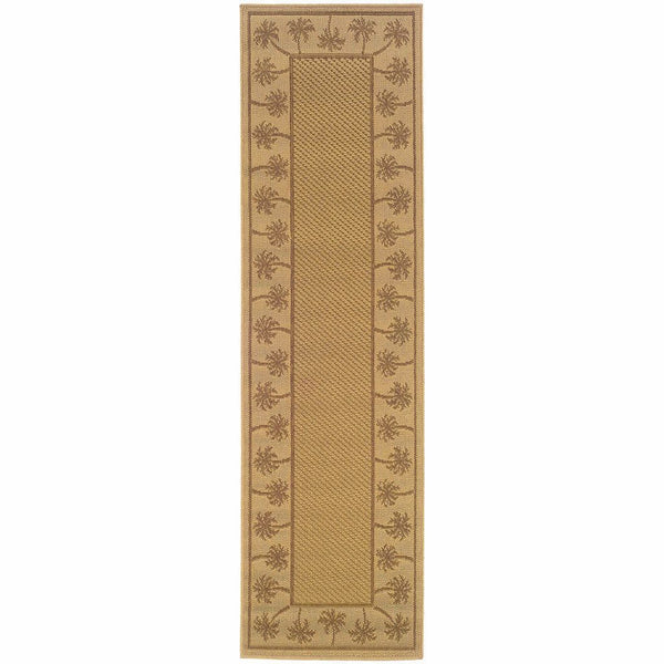 Lanai Beige Tan Palm Border  Outdoor Rug - Free Shipping