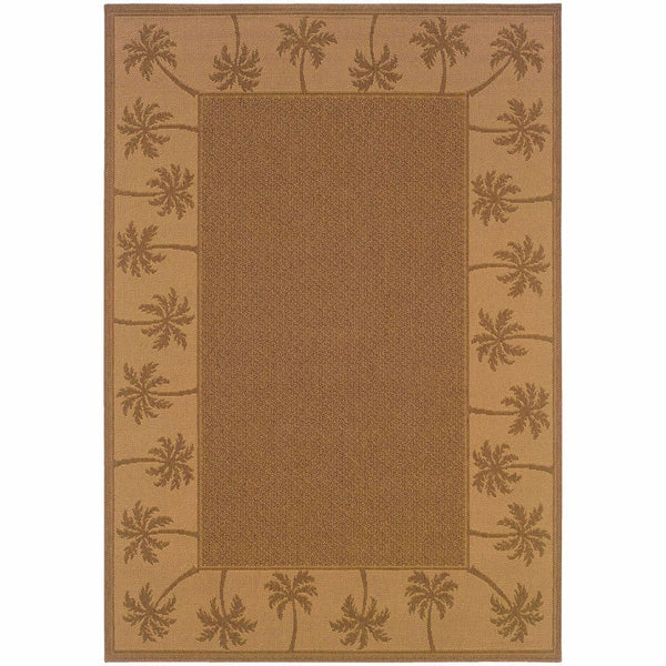 Lanai Tan Beige Palm Border  Outdoor Rug