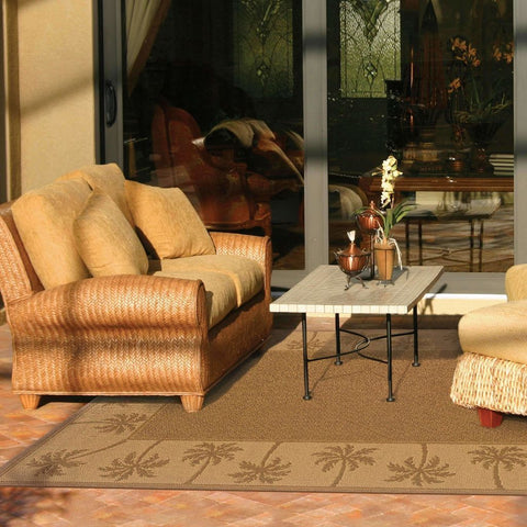 Oriental Weavers Lanai Tan Beige Palm Border  Outdoor Rug