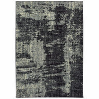 Luna Black Ivory Abstract Distressed Casual Rug - Free Shipping