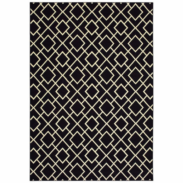 Luna Black Ivory Geometric Lattice Casual Rug - Free Shipping