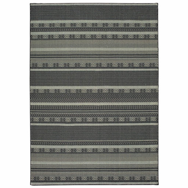 Luna Black Ivory Geometric Stripe Casual Rug - Free Shipping