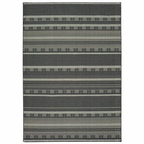 Oriental Weavers Luna Black Ivory Geometric Stripe Casual Rug