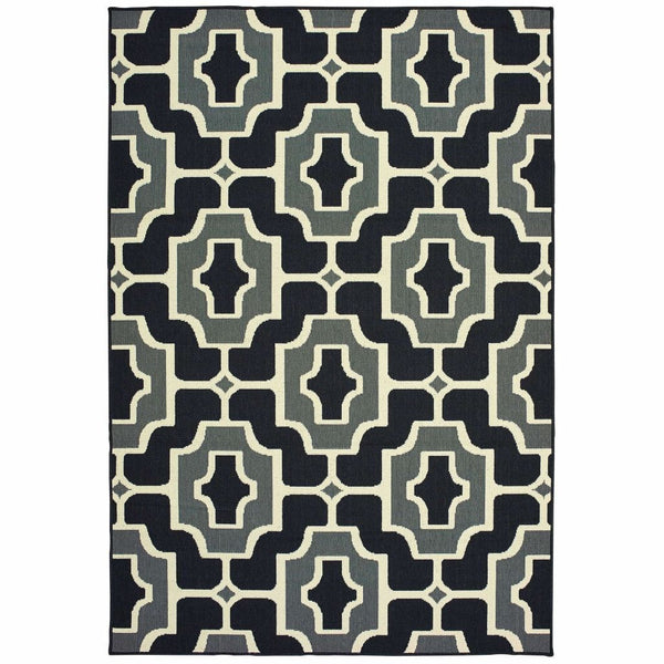 Marina Black Grey Geometric Outdoor Casual Rug - Free Shipping