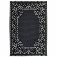 Marina Black Ivory Border Outdoor Casual Rug - Free Shipping