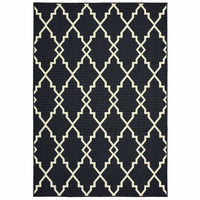 Marina Black Ivory Geometric Lattice Casual Rug - Free Shipping