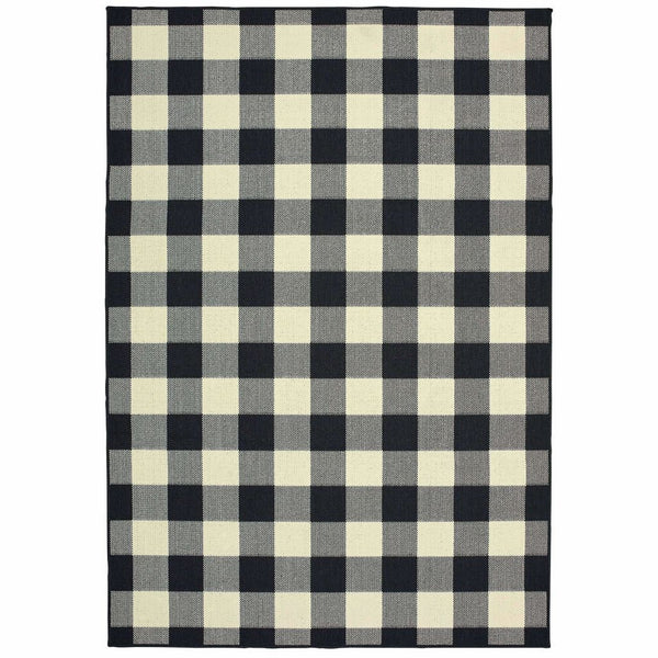 Marina Black Ivory Geometric Outdoor Casual Rug - Free Shipping