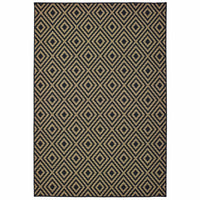 Marina Black Tan Geometric Lattice Casual Rug - Free Shipping