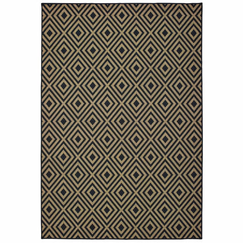Oriental Weavers Marina Black Tan Geometric Lattice Casual Rug