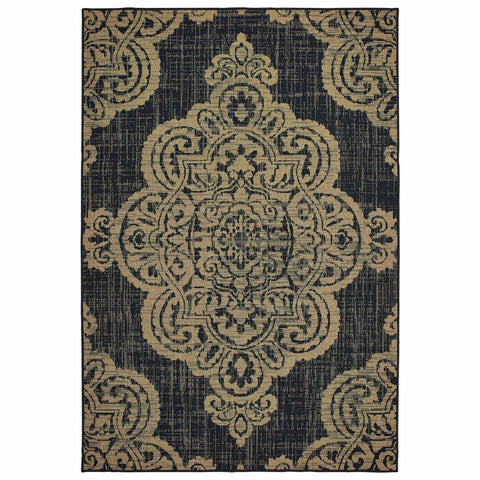 Oriental Weavers Marina Black Tan Oriental Medallion Casual Rug