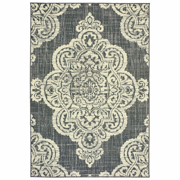 Marina Grey Ivory Oriental Medallion Casual Rug - Free Shipping