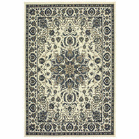Marina Ivory Navy Oriental Medallion Traditional Rug - Free Shipping