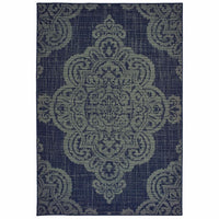 Marina Navy Grey Oriental Medallion Casual Rug - Free Shipping