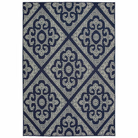 Marina Navy Ivory Geometric Lattice Casual Rug - Free Shipping