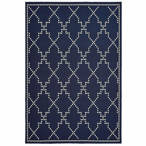 Marina Navy Ivory Geometric Lattice Casual Rug