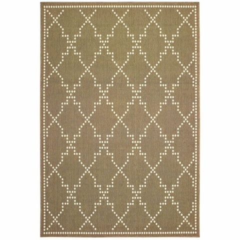 Oriental Weavers Marina Tan Ivory Geometric Lattice Casual Rug