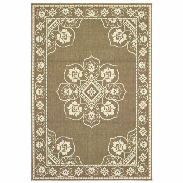 Marina Tan Ivory Oriental Medallion Casual Rug - Free Shipping