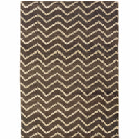 Marrakesh Brown Ivory Tribal Chevron Transitional Rug - Free Shipping