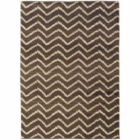 Oriental Weavers Marrakesh Brown Ivory Tribal Chevron Transitional Rug
