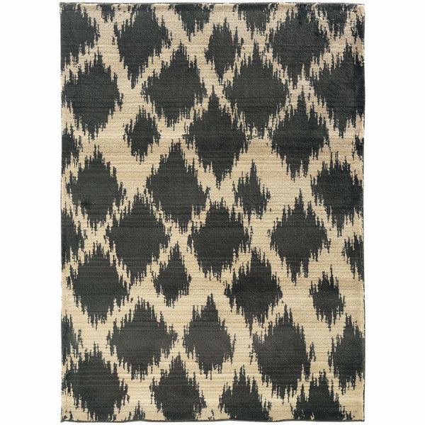 Marrakesh Ivory Brown Tribal Ikat Transitional Rug - Free Shipping